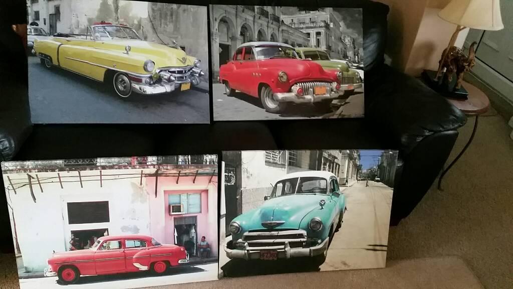 4 x vintage car canvas wall art   in Swansea   Gumtree