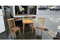 NEW EX DISPLAY very solid pine drop leaf table & 2 pine and brown leather chairs £89!