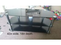 Black and chrome tv stand.