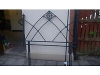 Wrought iron type headboard and matching curtain pole