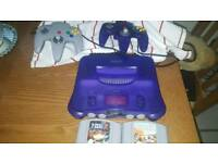 Rare Nintendo 64 console purple grape with expansion pack, 2 games, 2 controllers