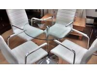 Round glass contemporary dining table