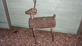 RUSTIC LOG REINDEER GARDEN ORNAMENT, 29 INCHES TALL