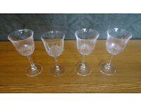 4 Vintage Wine Glasses