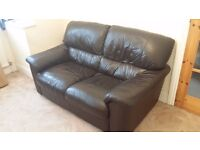 Black Leather 2 seats Sofa, 2 Double Beds, 1 fridge