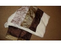 Duvet cover with satin pleated panels in browns & cushion cover, sorry no pillowcases