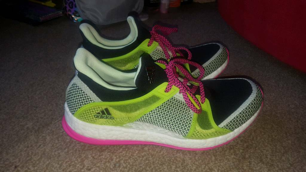 1bd1cd5b5 stunning neon Adidas pure boost x ladies trainers size 7 worn once ...