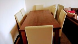 Walnut Dining Table and 6 Cream Chairs