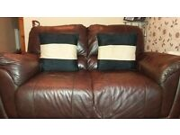 3×2 brown leather suite