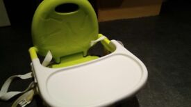 Chicco green and white baby feeding chair, folds away, ultra compact £15.