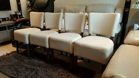 High quality Fabric dining chairs with solid wooden legs