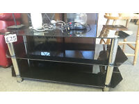 Large Black Glass & Chrome TV Stand