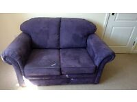 Two Seater Sofa Bed Purple Mock Suede Wipeable with Hidden Fold Out Metal Bed Frame -