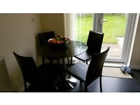 Black Gloss Dining Table + 4 Chairs