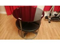 BLACK GLASS DINING TABLE - WITH 4 STOOLS - COMPACT - EXCELLENT CONDITION