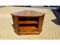 Mahogony wood corner unit for TV, etc. with draw