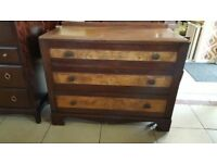 Burr Walnut & Mahogany Chest Of Drawers