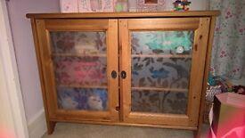 IKEA Leksvik TV Cabinet Glass 2 Door Storage Cupboard