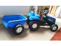 **Childs Ride On Blue Tractor**