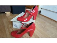 Red Faith T Bar shoes leather size 5