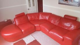 Real red leather corner sofa