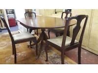 Beautiful Regency Pedestal Drop Leaf Dining Table & 4 Chairs