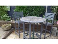 Chunky hardwood bar / bistro / tall table and chairs made by Lifestyle