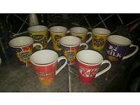 Bundle of 9 Mugs. Chocolate Brands.