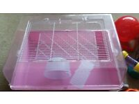 Hamster cage with two carrying cases and all you need to start