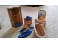 Doll house furniture: Bathroom set