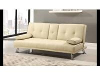 Cream faux leather Sofa Bed(as new)
