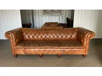 Stunning fully buttoned 3/4 seater leather chesterfield sofa £1000