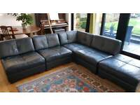 5 piece modular Italian leather sofa