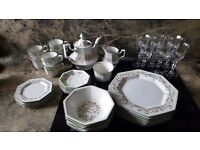Eternal beau dinner set including wine glasses, tea set and coasters. Excellent condition
