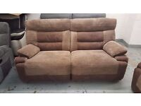 Ex Display SCS Brown Curve 3 Seater Manual Recliner Sofa Can Deliver View Collect NG177