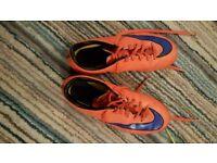 Nike orange mercurial astroturf size 3 football boots