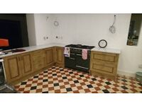 Kitchen cabinets with oak doors, and worktop