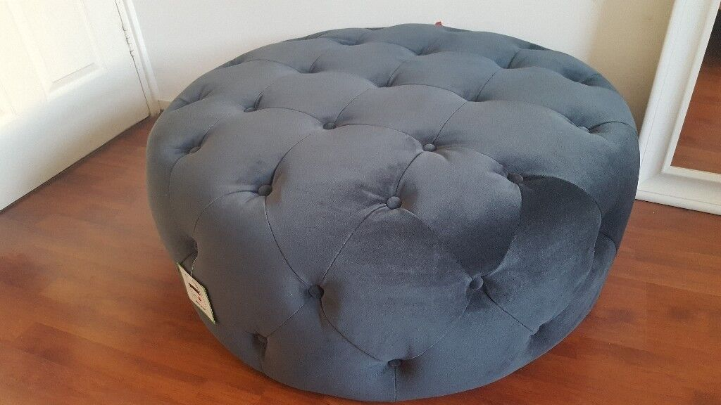 Hampton Large Round Pouffe Velvet Electric Blue Made Com Rrp 229