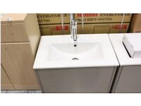 NEW! Taylors interiors wall hanging stone grey gloss sink unit waste and taps £845