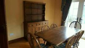 Vintage Black oak dresser and dining table with 6 chairs