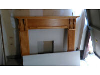 Solid oak fireplace / mantelpiece including Portuguese limestone hearth