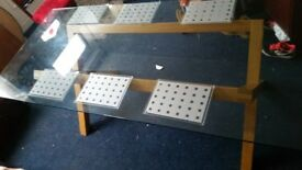 VERY LARGE GLASS DINING TABLE. 90cm / 200cm
