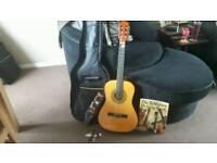 Guitar with bag,book, plecks & bag strap
