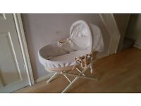 Moses basket and stand for sale