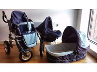 Full Travel system including push chair, carry cot, car seat