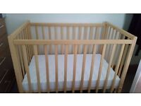Kiddicare 90x56 compact cot with mattress