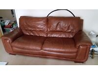 Sofa, brown leather, 3 seater