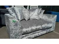 BRAND NEW Designer Crushed Velvet Silver Sofa DELIVERY AVAILABLE