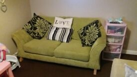 lovely green dfs 3 seater sofa from a smoke pet free home