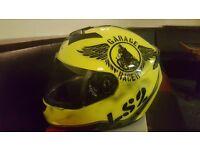 Ls2 helmet in yellow garage racer size medium